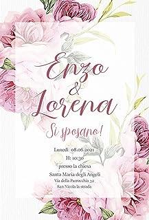 Partecipazioni matrimonio personalizzate - inviti nozze peonie rosa 10 pezzi