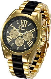 Luxury Unisex Roman Numeral Analog Quartz Stainless Steel Two Tone Watch Gold Plated