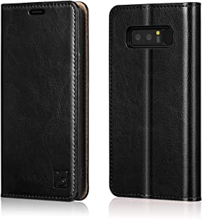 Belemay Samsung Galaxy Note 8 Wallet Case, Genuine Cowhide Leather Flip Case, Folio Book Cover, Card Holder Slots, Cash Pockets, Kickstand Compatible Samsung Galaxy Note 8, Black