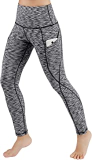 ODODOS Women's High Waist Yoga Pants with Pockets,Tummy Control,Workout Pants Running 4 Way Stretch Yoga Leggings with Pockets,SpaceDyeBlack,Large