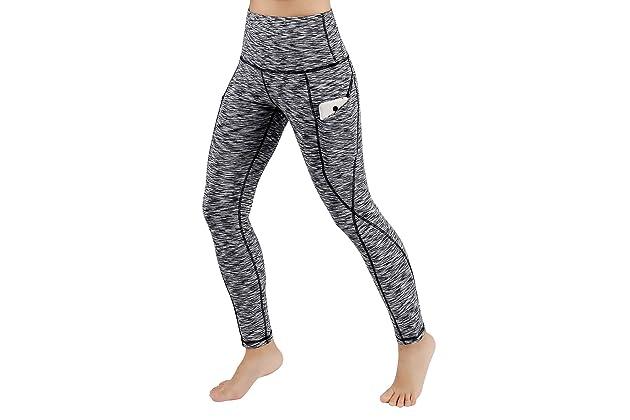6e6ea551de4af ODODOS High Waist Out Pocket Yoga Pants Tummy Control Workout Running 4 Way  Stretch Yoga Leggings Black