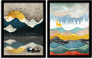 Painting Mantra Set of 2 Scenic View Matte Art Print, Painting for Home Décor, Paintings with Frame for Living Room(13.5 I...