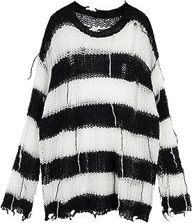 Jersey de punto gótico, con rayas blancas y negras y negras de gran tamaño, tallas grandes, tallas grandes, color negro, t...