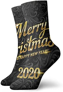 Socks Merry Christmas Golden Text Calligraphic Lettering Design Card Template SuCrew Socks for Men - Men's Sport Socks - A...