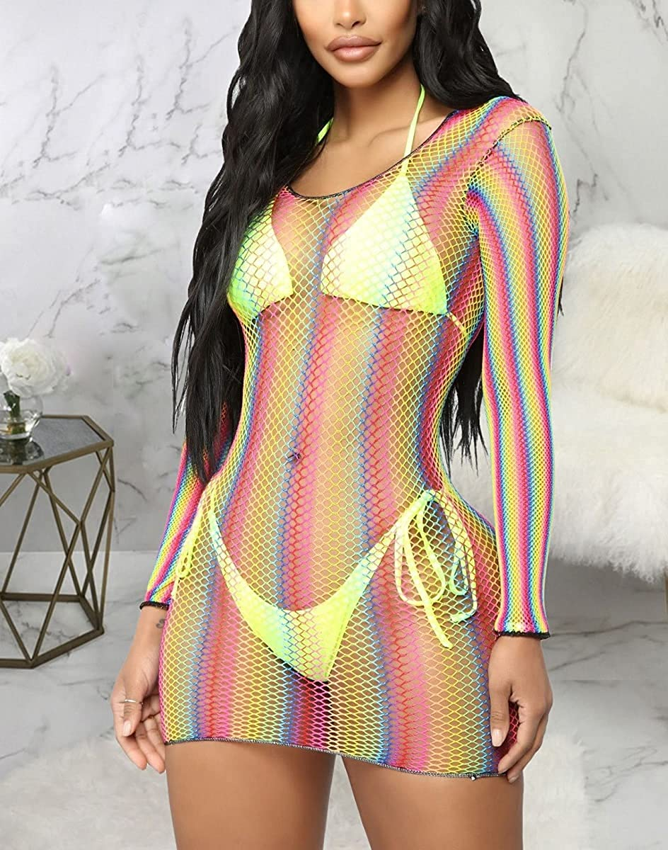 Women's Sexy Swimsuit Cover Ups Casual See Through Sheer Short Dresses for Swimwear
