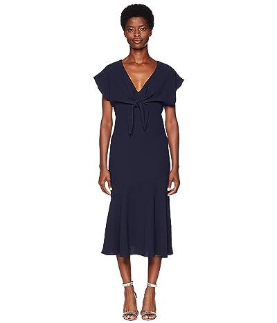 ML Monique Lhuillier Tie Front Crepe Dress (Navy) Women