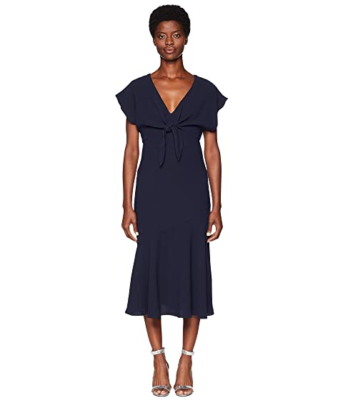 ML Monique Lhuillier Tie Front Crepe Dress