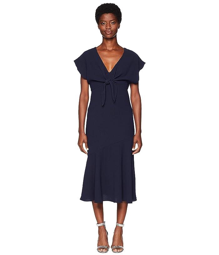 ML Monique Lhuillier  Tie Front Crepe Dress (Navy) Womens Dress
