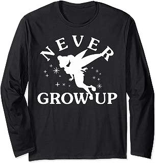 Disney Peter Pan Tinkerbell Never Grow Up Silhouette Long Sleeve T-Shirt