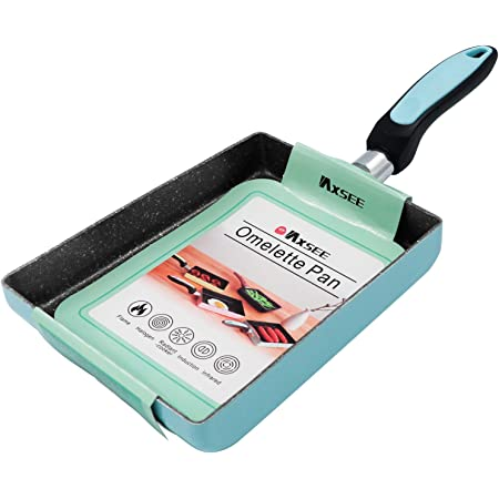 IAXSEE Tamagoyaki Japanese Omelette Egg Pan, Japanese Style Nonstick Skillet Rectangular Frying Pan with Anti Scalding Handle, Stove and Induction Hob Compatible (Blue)