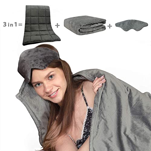 Viviland Weighted Blanket Ultra Deluxe Set - Weighted Comforter & Luxurious Micro-Plush Cover &Weighted Eyemask - 60x80Inch 15LBS(Grey)