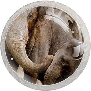Boutons De Tiroir Verre Cristal Rond Poignées d'armoires tirer 4 pièces,Éléphant de famille