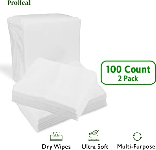 Disposable Dry Wipes, 100 Pack – Ultra Soft Non-Moistened Cleansing Cloths for Adults, Incontinence, Baby Care, Makeup Removal – Hospital Grade, Durable – by ProHeal