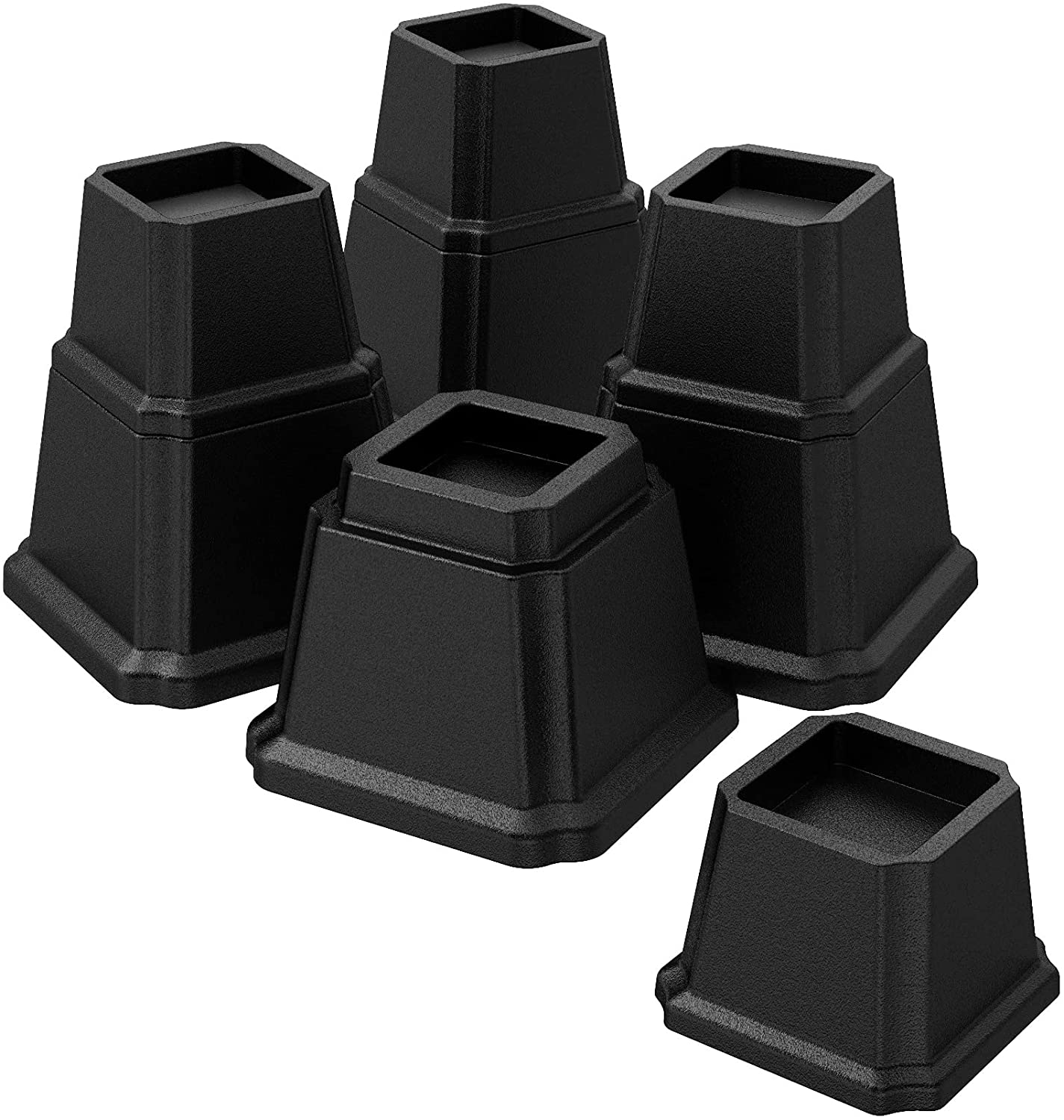 UUKING Furniture Bed Risers Heavy Duty Bed Elevators in Adjustable Heights of 8, 5 or 3 Inches, Set of 4 Lifts Up 1,500 lbs Riser for Sofa and Table, Black