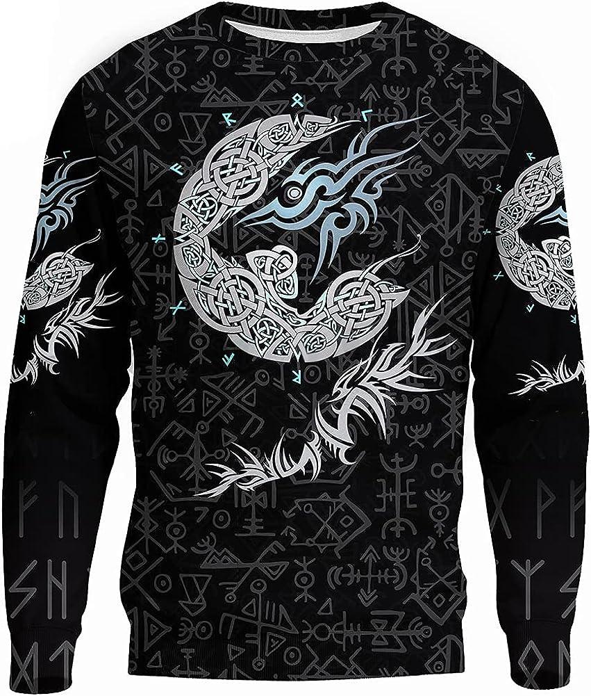 Men's Viking Tattoo Coating Sweater Northern European Drawing Long Semato Sweater Autumn Leisure Opera Role Playing Jacket