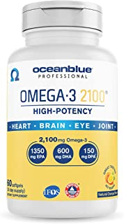 Oceanblue Omega-3 2100 – 60 ct – Triple Strength Burpless Fish Oil Supplement with High-Potency EPA and DHA...