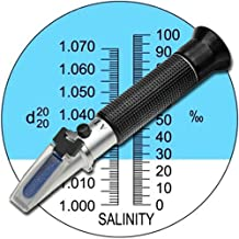 Aquarium Salinity Refractometer with ATC Function,Saltwater Test Kit for Seawater, Pool, Aquarium, Fish Tank.Dual Scale: Specific Gravity & Salt Percent