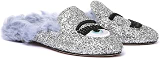 Women's Silver Glitter Slippers - Thong Shoes - Size: 6 US