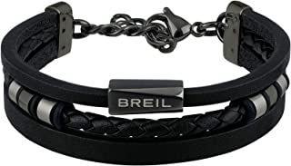 BREIL - Bracciale da Uomo Collezione OUTER TJ2668 - Gioielli Uomo - Bracciale in Pelle Nera con Elementi in Acciaio - 22,5 cm