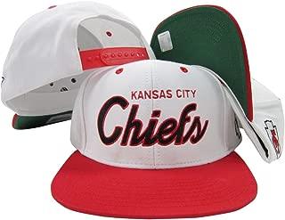 Reebok Kansas City Chiefs White/Red Script Two Tone Adjustable Snapback Hat/Cap