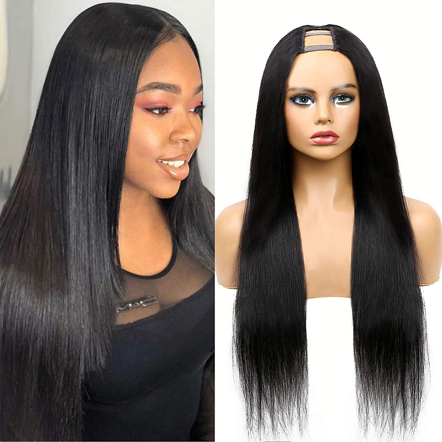 Super sale U Part Wig Human Hair Straight Wigs Women for Ranking TOP1 Upart Black wi