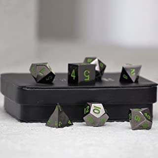 Serpent's Blood Green Gun Metal Polyhedral Dice Set   7 Piece   Professional Edition   FREE Display Case   Hand Checked Quality Control and Precision Machining Accuracy