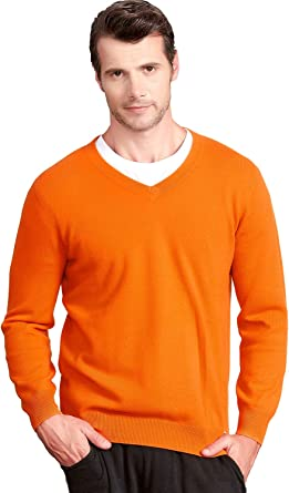 Zhili, maglione da uomo 100% cashmere con scollo a V