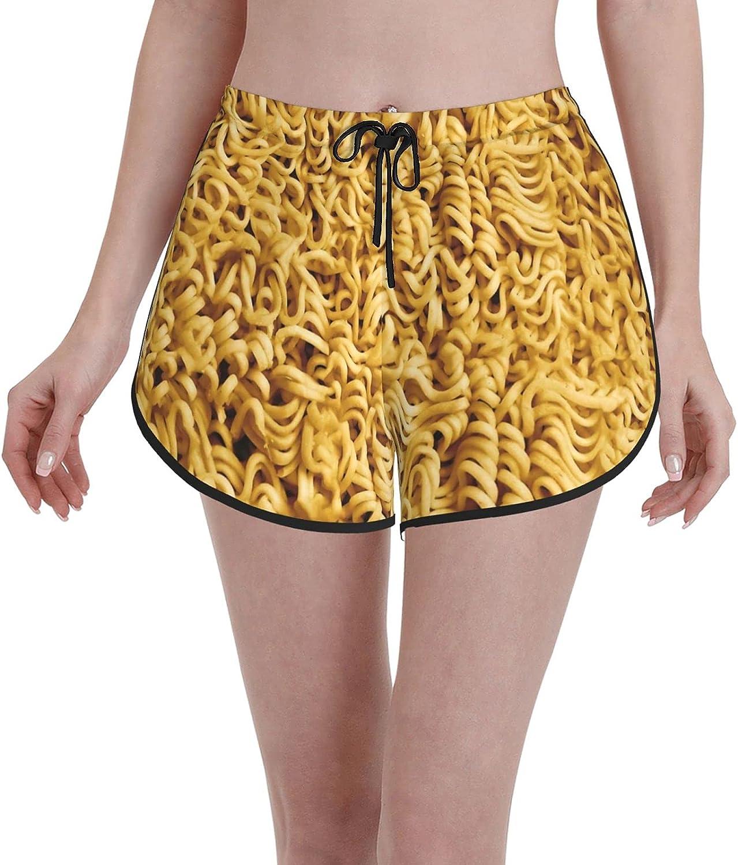 Ramen Noodle Spiral Food Pattern Women's Swim Trunks Drawstring Board Shorts,Quick Dry Beach Pants Swimwear