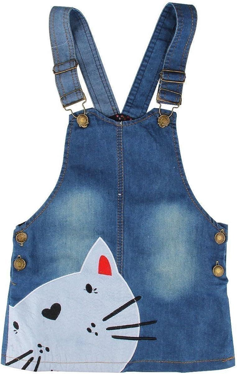 Kids Girls Cute Cat Face Princess One Piece Denim Jeans Jumper Overall Suspender Skirt Pinafore Dress Age 2-7