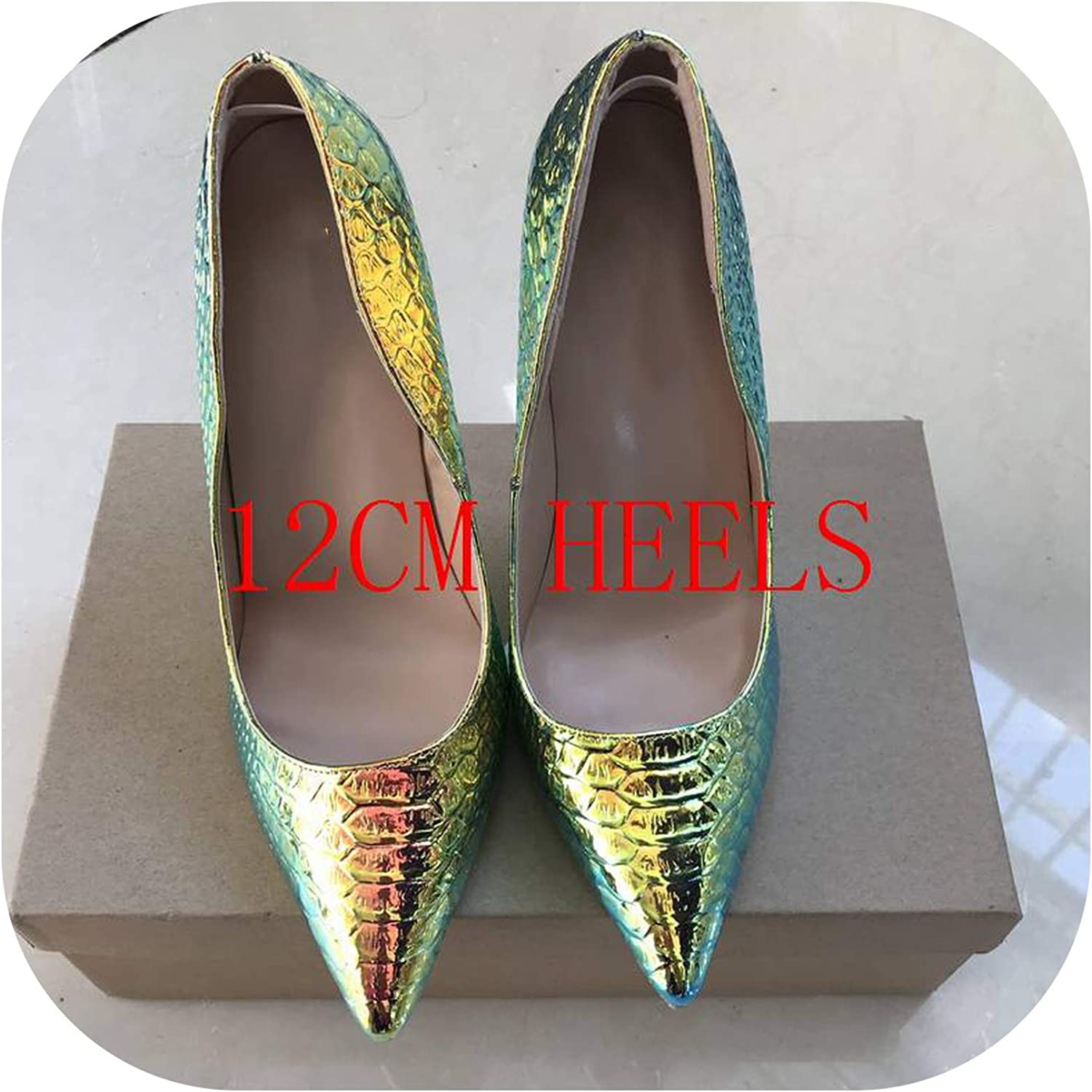 Women Pumps Snake Printing shoes Woman Pointed Toe High Heels shoes Party Sexy shoes