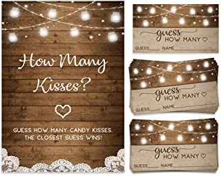 How Many Kisses | Candy Jar Guessing Game | 50 Cards and Matching Sign | Bridal Shower Activity and Game