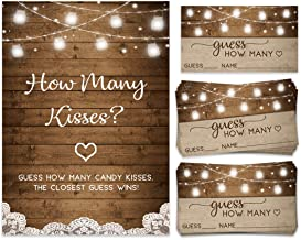 How Many Kisses, Candy Jar Guessing Game, 50 Cards and Matching Sign, Bridal Shower Activity and Game