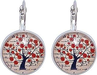 Beige Boucles doreilles Cabochon rond beige arbre /à coquelicots rouges Cr/éative Perles