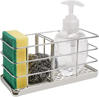Sponge Holder for Kitchen Sink,304 Stainless Steel Sink Organizer Sink Caddy Sink Tray Drainer Rack Hanging Adjustable Pan...