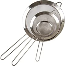 Set of 3- Fine Mesh Stainless Steel Strainers - Premium Quality - Colander Sieve with Handle - By Kitchen Winners