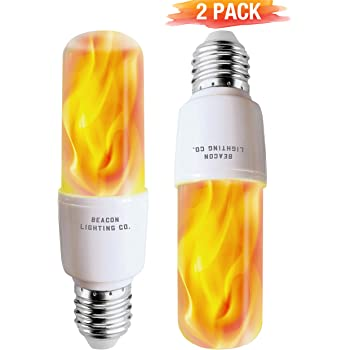 LED Flame Effect Light Bulbs - E26 LED Bulb with Gravity Sensor Flame Night Bulb for Holiday Gifts Home Hotel Bar Party Decoration(2 Pack)