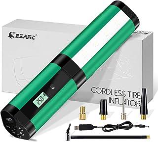EZARC Elektrischer Kompressor Tragbare Auto Luftpumpe Portable Reifenpumpe, Wiederaufladbarer Li ionen Batterie I50PSI 12V für Auto, Motorräder, Bälle, Schwimmringe und alle Fahrräder   Grün