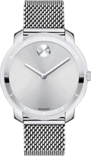 Movado Women's BOLD Thin Stainless Steel Watch with a Printed Index Dial, Silver (Model 3600241)