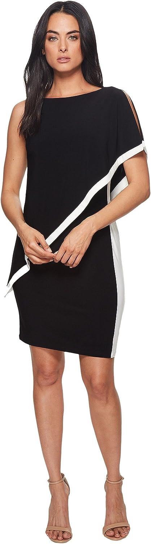 LAUREN RALPH LAUREN Womens Timna One Shoulder Two Tone Cocktail Dress
