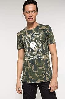 DeFacto Sıfır Yaka Baskılı Uzun Fit T-shirt