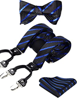 HISDERN Check Dots 6 Clips Suspenders & Bow Tie and Pocket Square Set Y Shape Adjustable Braces