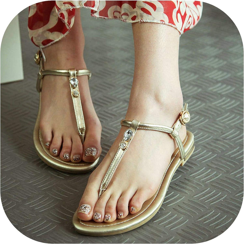 Women Summer Casual Sandals Comfortable Flat Heel T-Strap shoes,