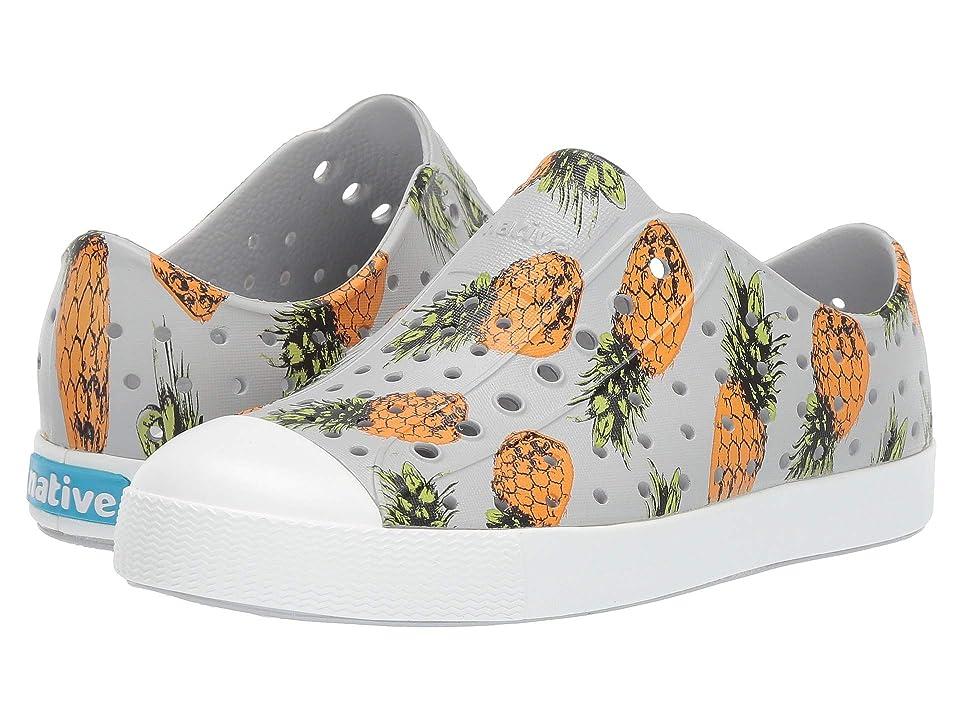 Native Kids Shoes Jefferson Print (Little Kid) (Mist Grey/Shell White/Pineapple) Kids Shoes
