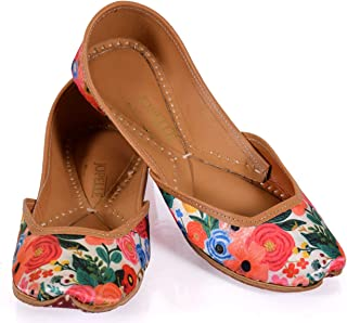 JOPELLE Mix Flower Multicolor Handcrafted Leather Handmade Punjabi Juttis Mojari for Women