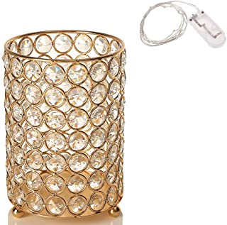 VINCIGANT Gold Crystal Votive Candle Holders Centerpeices with Warm White String Light for Wedding Table,Housewarming Decor Gifts
