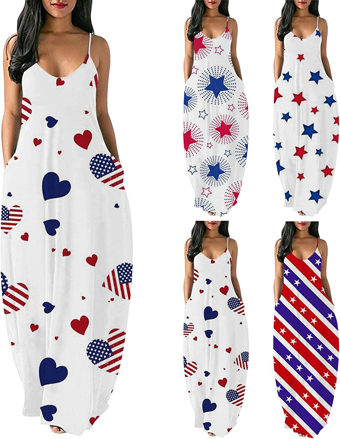 Formal Dresses for Women,Women's Solid Color V Neck Spaghetti Strap Long Maxi Dress Casual Summer Party Dress