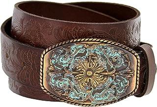 BBBelts Women 1 Brown Leather Silver Plated Zircon Inlay Western Buckle Belt