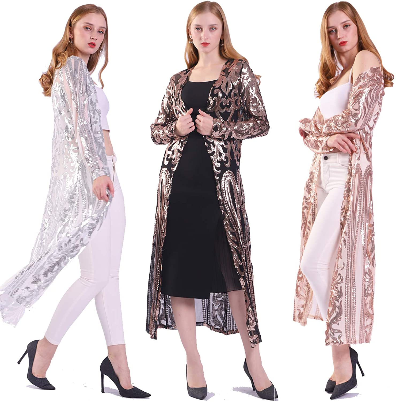 Women's Sequin Cardigan Summer Cover Op half Glitter Max 54% OFF Up Sparkle Dress