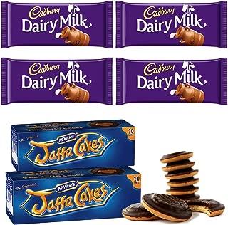 McVities Jaffa Cakes Two Boxes + Cadbury Dairy Milk Chocolate | Total 4 bars of British Chocolate Candy - Cadbury Dairy Milk Chocolate 45g each