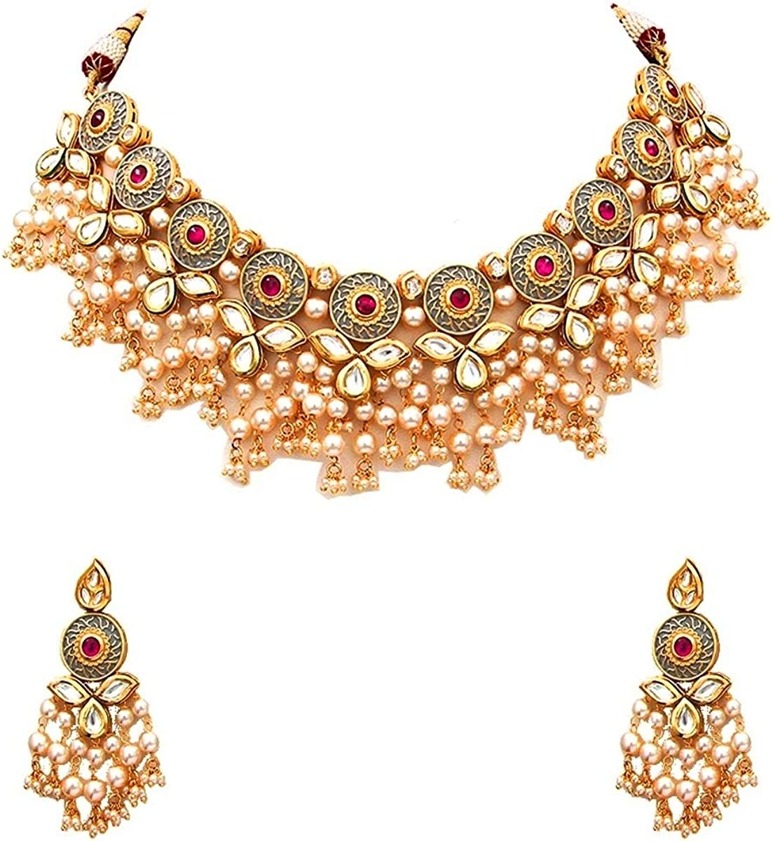 Gemsonclick Indian Traditional Choker Necklace Earrings Set Gold Plated Kundan Stone Handcrafted Fashion Jewellery for Women Girls